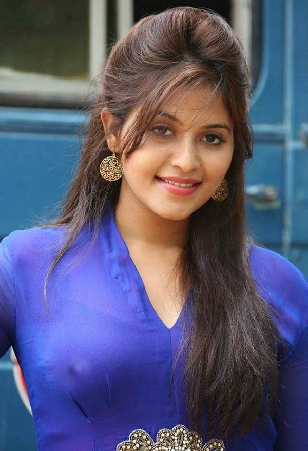 Actress Anjali Hot In Blue Kurti
